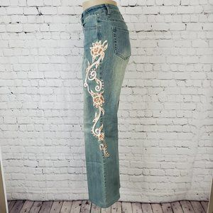Boston Proper Embroidered Floral Boot Cut Jeans 10